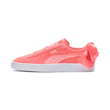 Suede Bow Women's Sneakers, Shell Pink-Shell Pink, small