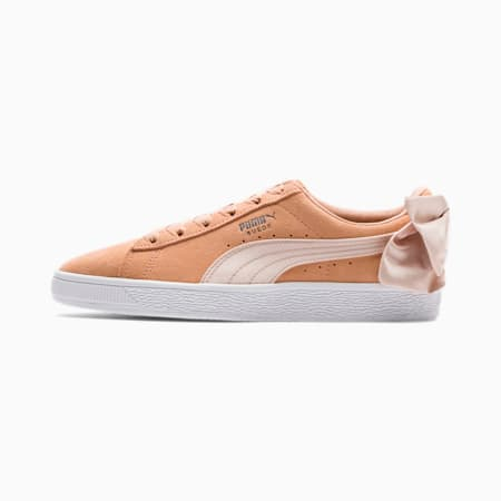 Suede Bow Women's Trainers, Dusty Coral-Cream Tan, small
