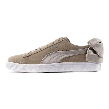 Suede Bow Women's Sneakers, Elephant Skin-Silver Cloud, small