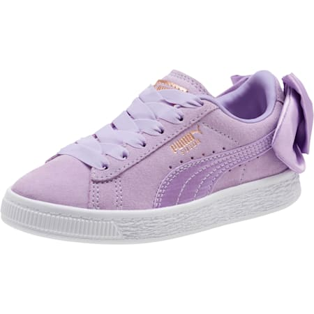 Suede Bow AC Little Kids' Shoes, Purple Rose-Purple Rose, small