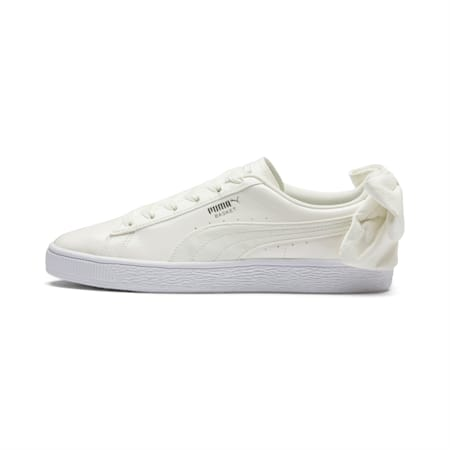 Basket Suede Bow Women's Sneakers, Whisper Wht-Puma Aged Silver, small