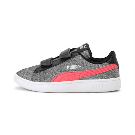 PUMA Smash v2 Glitz Glam Kid Girls' Shoes, Puma Black-Calypso Coral, small-IND