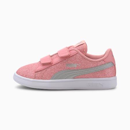 PUMA Smash v2 Glitz Glam Kid Girls' Shoes, Peony-Puma Silver-Puma White, small-IND