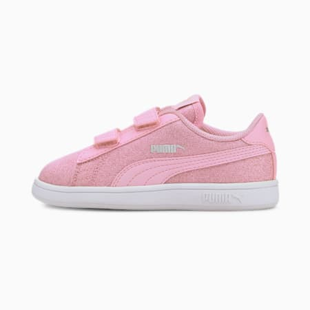 PUMA Smash v2 Glitz Glam Kid Girls' Trainers, Pale Pink-Pale Pink, small
