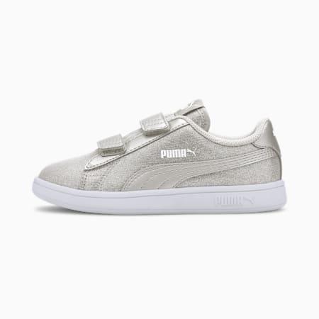 PUMA Smash v2 Glitz Glam Little Kids' Shoes, Puma Silver-Puma Silver, small