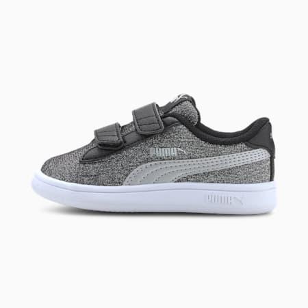 Zapatillas de niña para bebé PUMA Smash v2 Glitz Glam, Puma Black-Puma Silver-PW, small