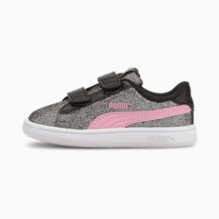 Tenisówki dla dziewczynek PUMA Smash v2 Glitz Glam Baby, Puma Black-Pale Pink, small
