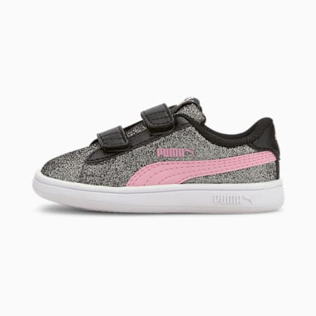 PUMA Smash v2 Glitz Glam Baby Girls' Trainers, Puma Black-Pale Pink, small-GBR
