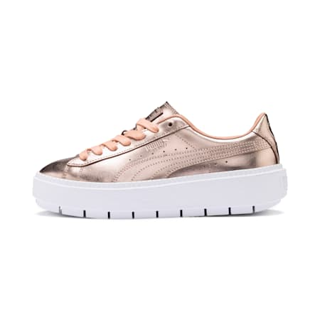 Basket Platform Trace Luxe Women's Trainers, Dusty Coral-Puma White, small-SEA