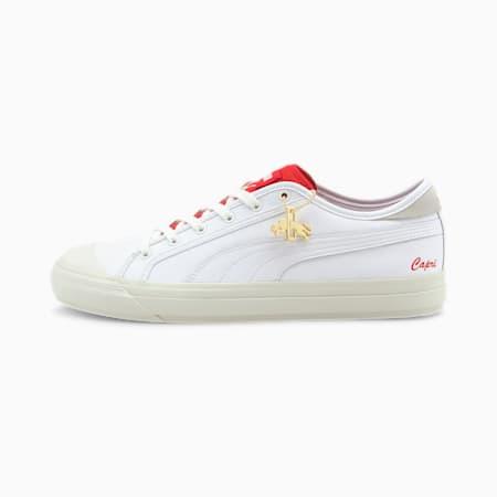 Capri R. Dassler Legacy Sneaker, PWht-HighRiskRed-VaporusGray, small