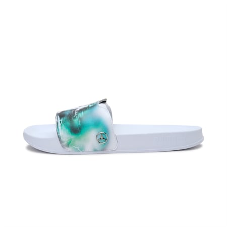 Mercedes F1 Graphic Leadcat FTR Unisex Slides, Puma White-Spectra Green, small-IND