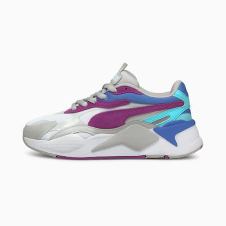 RS-X³ Neon Flame Sneakers JR, Gray Violet-Byzantium, small