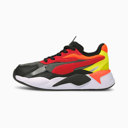 RS-X³ Neon Flame Kids' Shoes, Puma Black-High Risk Red, small-IND