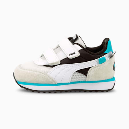 Future Rider Animals V Babies' Trainers, Puma Black-Puma White, small