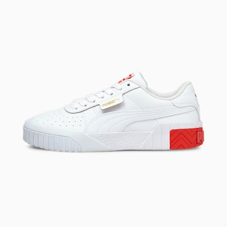 Cali Jugend Sneaker, Puma White-Poppy Red, small