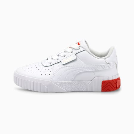 Cali Kids' Trainers, Puma White-Poppy Red, small-GBR