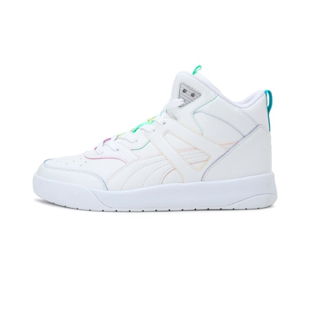 Cali Backcourt Mid Rainbow Sneakers, Puma White-Puma White, small-IND