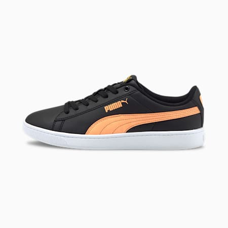Vikky Ink Splash Women's Sneakers, Black-Soft Fluo Orange-White, small-IND