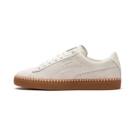 Suede Classic Blanket Stitch Trainers, Whisper White-Gum, small-SEA