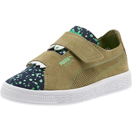 Suede Deconstructed Monster Kids' Trainers, Olivine-Peacoat-Irish Green, small-SEA