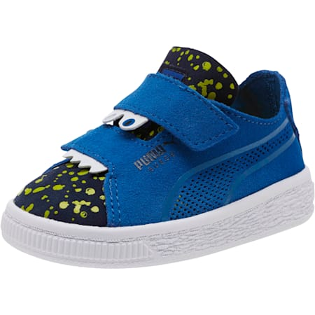 Suede Monster Babies' Trainers, Surf The Web-Peacoat-Yellow, small-SEA
