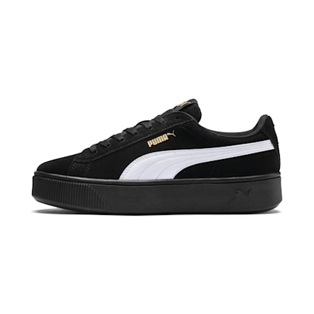 PUMA Vikky Stacked Suede Women's Sneakers, Puma Black-Puma White, small