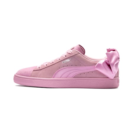 Suede Bow Galaxy Women's Sneakers, Pale Pink-Puma Silver, small