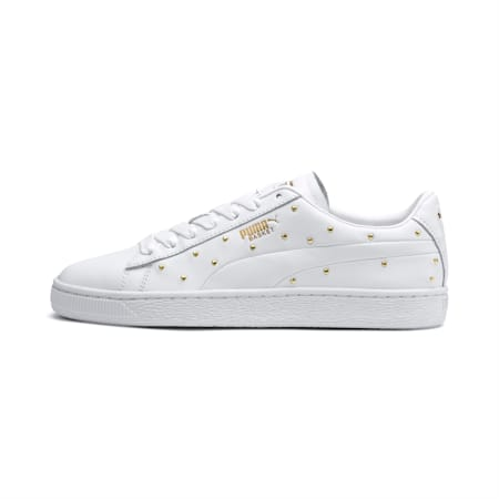 Basket Studs Women's Trainers, Puma White-Puma Team Gold, small-SEA