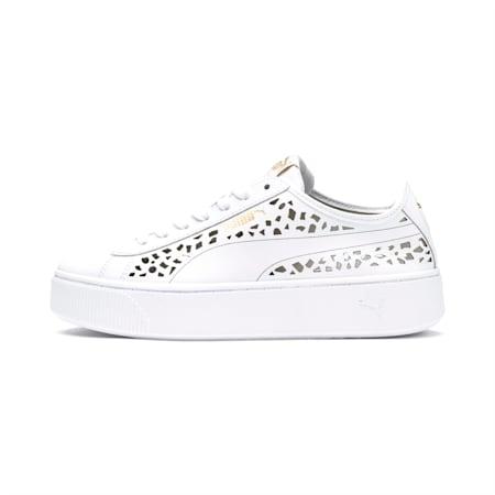 Podwyższone damskie buty sportowe z laserowymi wycięciami Vikky, Puma White-Puma White, small
