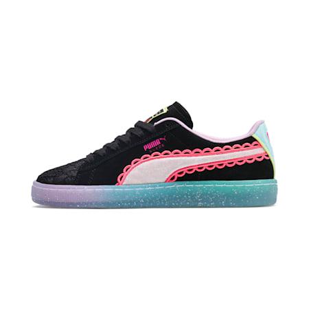 Zapatos deportivosPUMA x SOPHIA WEBSTER Suede para mujer, Puma Black-Fiery Coral, pequeño