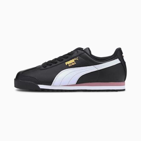 Roma Basic+ Sneaker, Puma Blk-Puma Wht-Foxglove, small