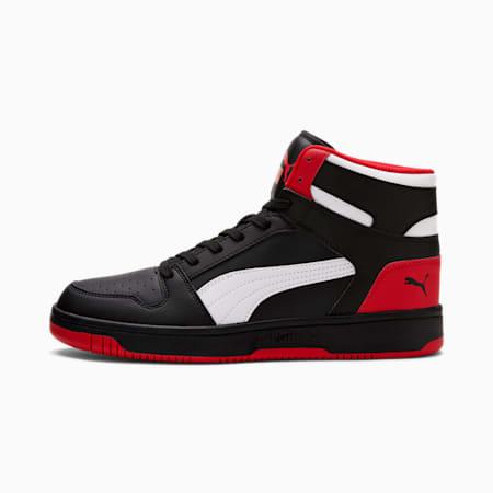Zapatos deportivos PUMA Rebound LayUp, Puma Black-Puma White-High Risk Red, pequeño