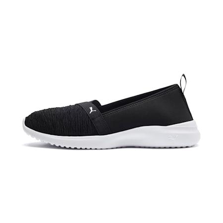 Adelina Slip-On sportschoenen voor dames, Puma Black-Puma Silver, small
