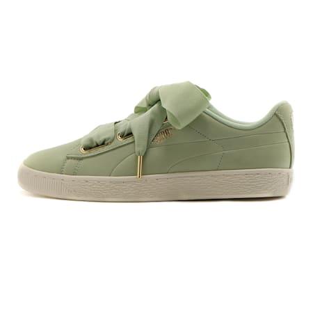 Basket Heart Soft Women's Sneakers, Smoke Green-Marshmallow, small