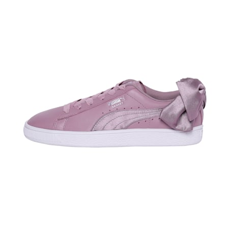 Basket Women's Bow Satin Sneakers, Elderberry-Puma White, small-IND