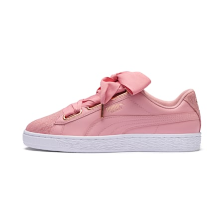 Basket Heart Woven Rose Women's Sneakers, Bridal Rose-Puma White, small