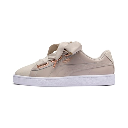 Basket Heart Woven Rose Women's Sneakers, Silver Gray-Puma White, small