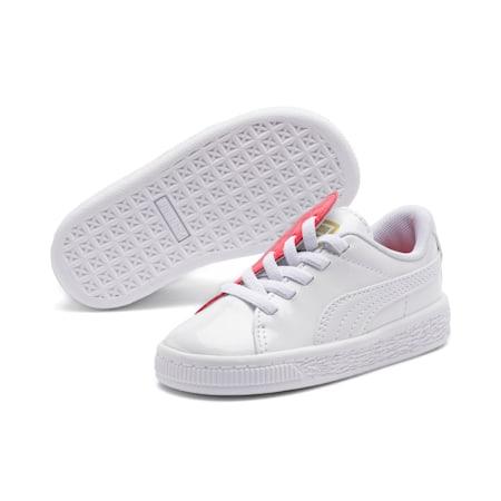 Basket Crush Patent Kid Girls' Trainers, Puma White-Hibiscus, small-SEA