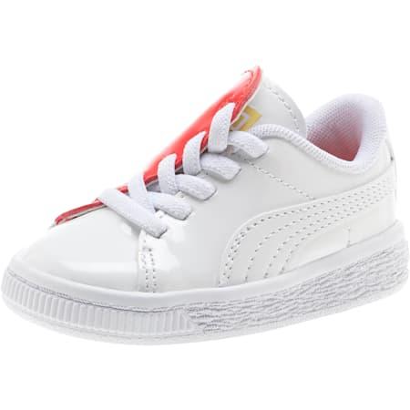 Basket Crush Patent Baby Girls' Trainers, Puma White-Hibiscus, small-SEA