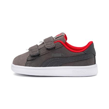 PUMA Smash v2 Monster Little Kids' Shoes, Asphalt-C. Gray-Red-White, small