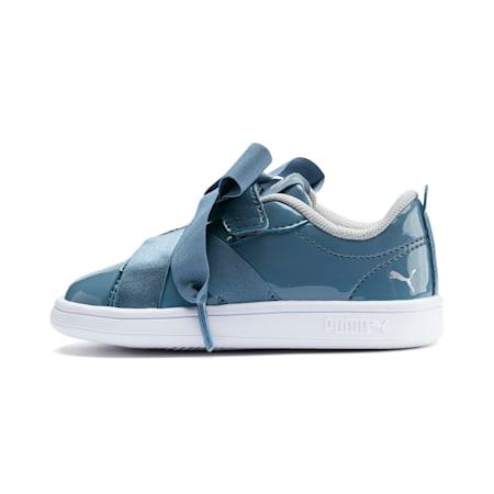 PUMA Smash v2 Patent Buckle AC Toddler Shoes, Bluestone-Silver-White, small