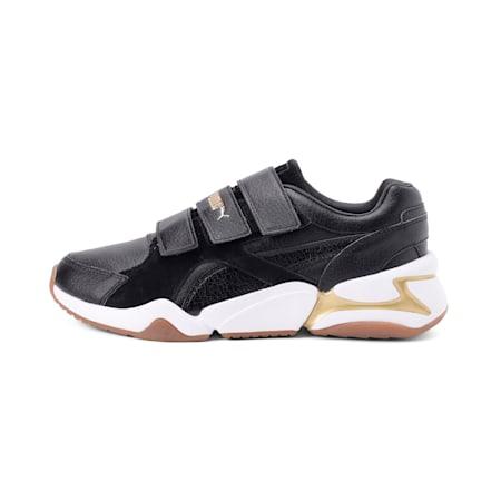 Nova V Leather Women's Shoes, Puma Black-Puma Team Gold, small-IND