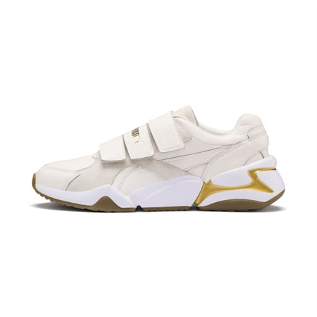 Nova V Leather Women's Trainers, Pastel Parchment-P.Team Gold, small-SEA