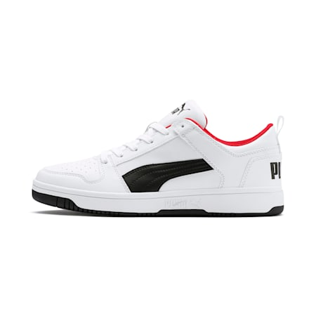 PUMA Rebound Lay Up SoftFoam+ Unisex Sneakers, White-Black-High Risk Red, small-IND