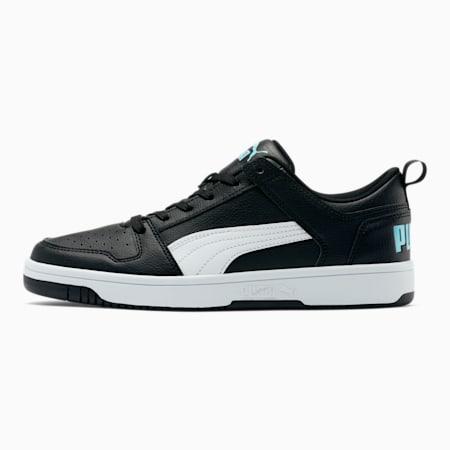PUMA Rebound LayUp Lo Men's Sneakers, Puma Black-White-Aquamarine, small