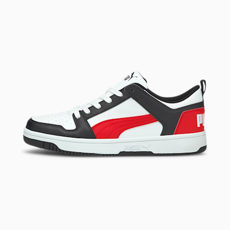 Zapatos deportivos PUMA Rebound LayUp Lo, White-Poppy Red-Puma Black, pequeño