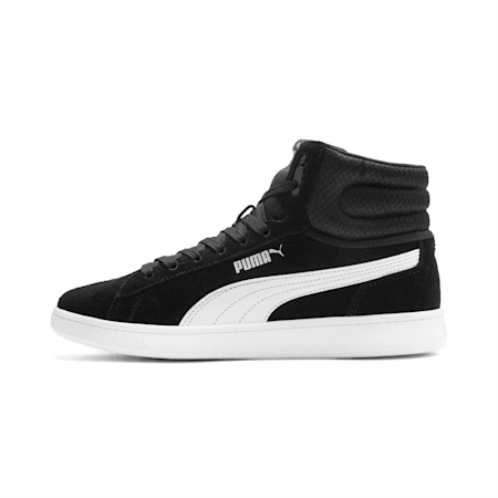 Vikky v2 Mid-Cut Women's Basketball Shoes, Puma Black-White-Silver-Pink, small-IND