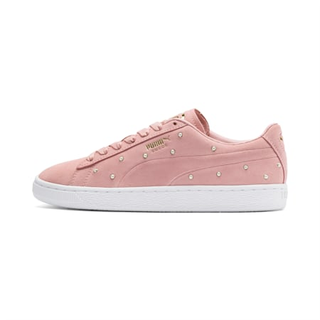 Pearl Studs Suede Women's Trainers, Bridal Rose-Puma Team Gold, small-SEA
