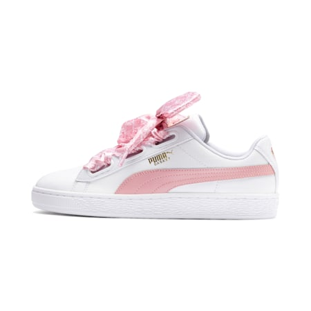 Basket Heart Reinvent Women's Trainers, Puma White-Bridal Rose, small-SEA