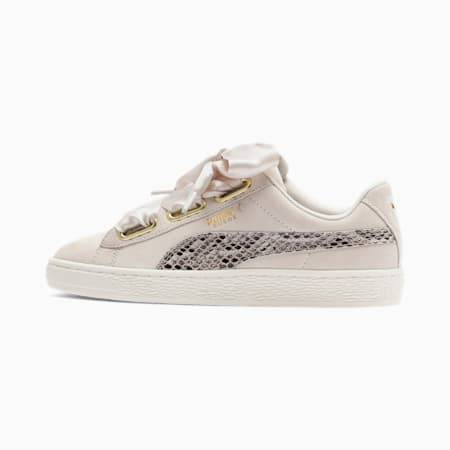 Suede Heart Snake Lux Women's Sneakers, Pastel Parchment-PTeam Gold, small